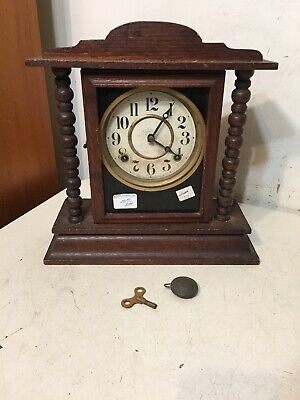 Antique Ingraham Kitchenette Style Mantle Clock Circa 1920's Oak Cabinet