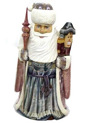 Vintage Russian Wooden Hand Carved Hand Painted Santa with Nut Cracker