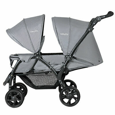 Foldable Double Baby Stroller Stand On Front & Back Seats Pushchair Gray