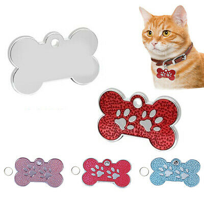 HB- Pet Dog Cats Puppy Engraved ID Name Bone Shape Collar Tags Plate Pendant