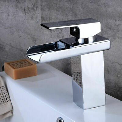Chrome Waterfall Basin Sink Mixer Tap Modern Bathroom Lever Faucet Kitchen Home