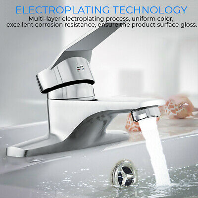 Hot Cold Mixer Water Bathroom Tap Basin Sink Faucet Full Copper Double Hole