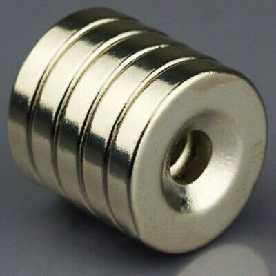 5/10Pcs N50 Strong Round Neodymium Disc Magnets Countersunk Ring 5mm Hole 20x4mm