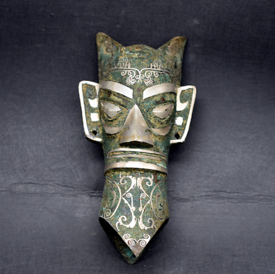 Collections chinese Bronze inlaid silver Sanxingdui Human head statue