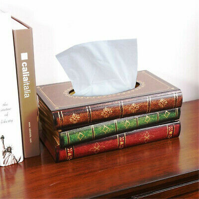 Tissue Box Cover Hand Crafted Antique Book Wooden Dispenser Paper Holder Case ❤