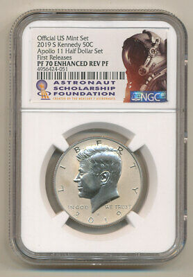 2019 S NGC PF70 FR Enhanced REVERSE Proof Kennedy half APOLLO ASF Astronaut