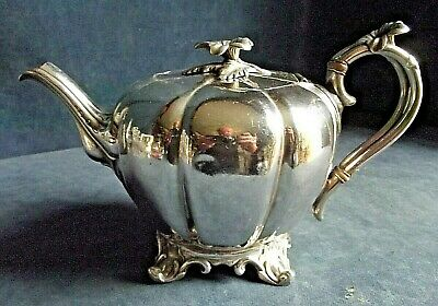 SUPERB ~ GEORGIAN Styled ~ SILVER Plated ~ 'Melon' TEAPOT ~ c1860 by James Dixon