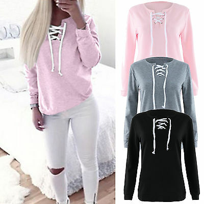 Ladies Long Sleeve Lace Up  V Neck T-Shirt Women Casual Cotton Soft Blouse Top