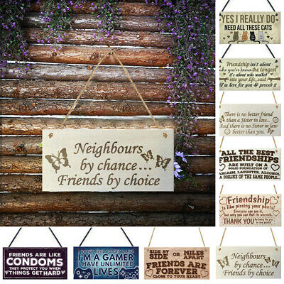 Vintage Wooden Hanging Wall Plaques Shabby Family Friendship Rules Door Signs