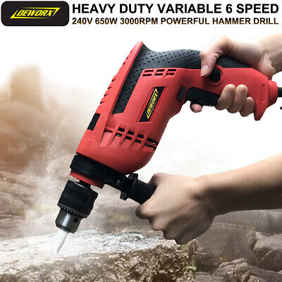 DEWORX 650W Electric Corded Impact Hammer Drill with Drill Bit Set DIY Tool Kit
