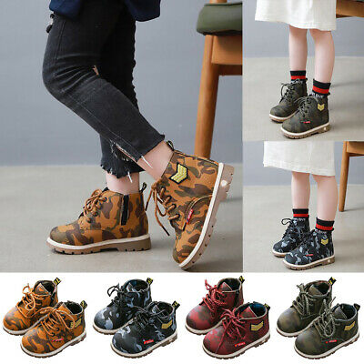 Baby Kids Boys Martin Shoe Camouflage Ankle Boots Anti-slip School Shoes AU Post