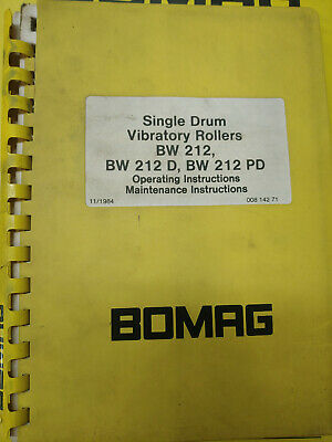 Bomag Operating And Maintenance Instructions Bw212 Bw212D Bw212Pd #00814271