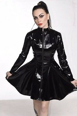 Misfitz sexy black Pvc skater mistress dress size 30 TV Goth CD Fetish Club