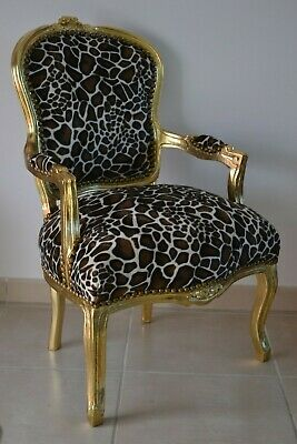 Louis Xv Arm Chair French Style Chair Vintage Furniture Giraffe  And Gold Wood