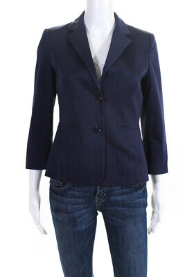 Max Mara Womens Vintage Long Sleeve Collared Blazer Blue Button Size S
