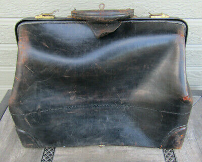 Antique Leather Doctor Medical Bag w/ Key SR and Co LaBelle Luggage Quackery