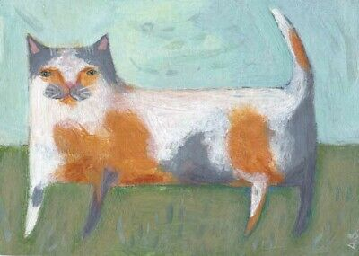 Original Calico Cat ACEO Painting, White Gray & Orange Kitty, Naive Folk Art