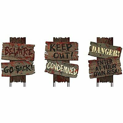 Beware Halloween Scary Yard Stake Signs Plastic Wooden Look Realistic Blood 3 Pc