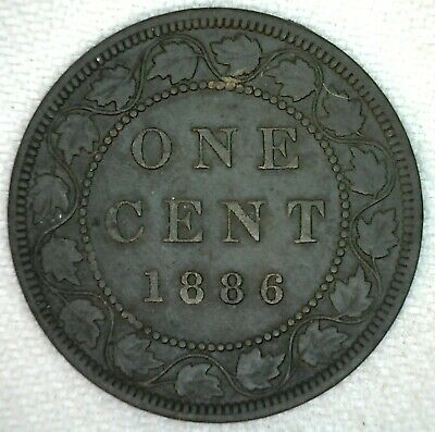 1886 Canada Large Cent Victoria One Cent Very Fine Bronze KJ22