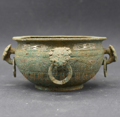 """4.33""""Collections Chinese antiques ancient bronze inlaid with silver vessel"""