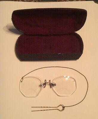 Antique Large Octagon Gold Spectacles With Leather Case Hair Pin