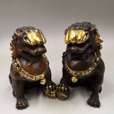 Antiques Old bronze handmade Gold plating lion Home decoration foo dogs Statue