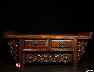 "20"" China Huanghuali wood Carving Flowers Statue drawer Tea Table Desk Furniture"