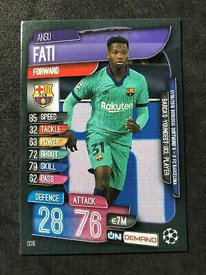 2019 Topps Match Attax Ansu Fati Champions League Rookie On Demand Sold Out