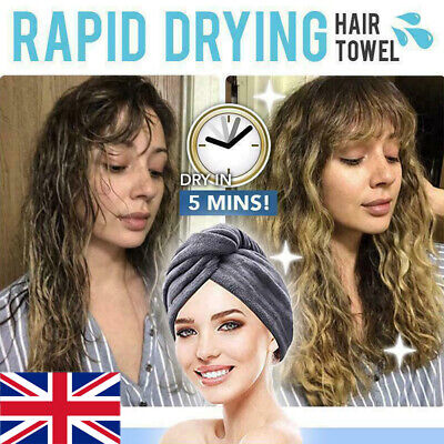 UK RAPID DRYING HAIR TOWEL Thick Absorbent Shower Cap Fast
