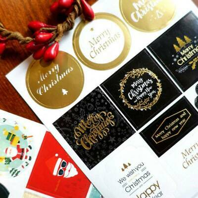Merry Happy Christmas Envelope Seal Labels, Stickers for Cards & Craft -2 Sheets