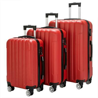 3PCS Luggage Travel Set Bag Traveling Case Trolley Hard Shell Suitcase TSA Lock