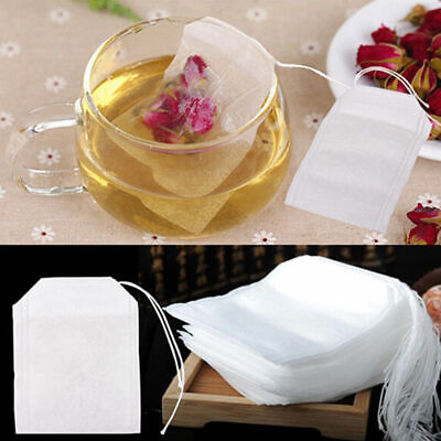 50pcs Empty Teabag String Heat Seal Filter Paper Herb Loose Tea Bag White