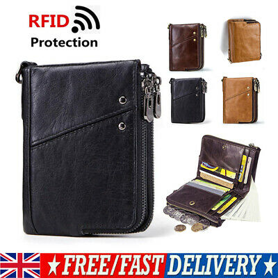 Mens Luxury Soft Genuine Leather RFID Blocking Card Wallet Zip Cash Coin Holder