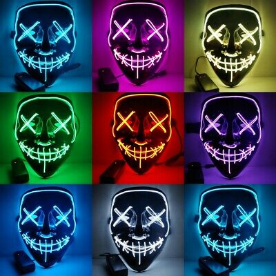 Halloween LED Glow Mask EL Wire Light Up The Purge Movie Party Costume Dress Up