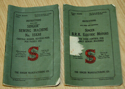 Vintage Singer Sewing Machine Instructions - 15K88 & B.R.K Electric Motors