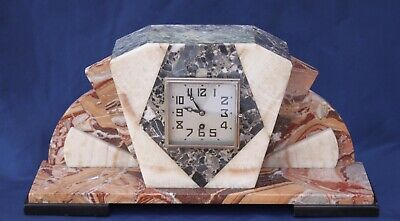 Very Large Superb 1930'S Art Deco Multi Coloured-Marble Mantel Clock Mart French