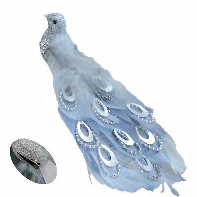 21cm Long Beaded Tail Peacock Clip on Bird Christmas Tree Decoration - Silver
