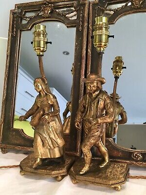 Charming Pair Of Antique  French Gilt Bronze Figure Table Lamps Rewired