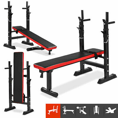 Adjustable Folding Sit Up Weight Bench Barbell Dip Station Lifting Chest 1x