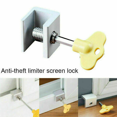 Steel Door Wndow Track Limiter Sliding Window Security Anti-theft Lock Safety~