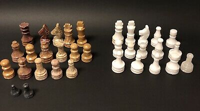 Vintage Chess Pieces Lot Of 33 Carved Marble Stone Mixed Lot ~Incomplete Sets