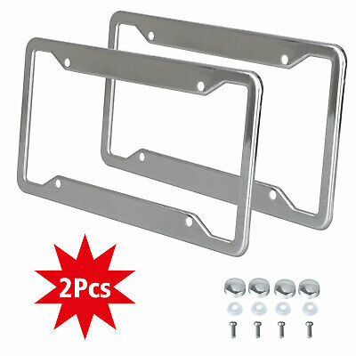 Screw Cap 2 PCS TAC License Plate Frames US Standard Chrome T304 Stainless Steel Car License Plate Covers with Bolts Washer Caps Sturdy Design Tag Cover