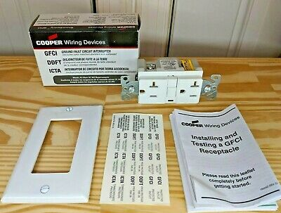 Cooper ShockSentry GFCI Outlet VGF20W Duplex Receptacle Kit 20A-125V White NEW