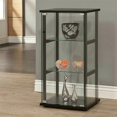 Coaster Clean Simple Beautiful 3 Shelf Glass Curio Cabinet in Black