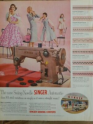 1955 swing needle Singer automatic sewing machine vintage color ad