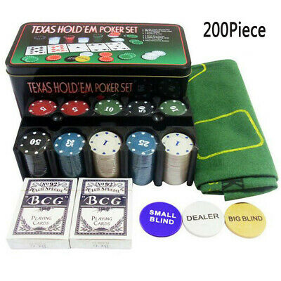 200Pc Texas Hold Em Poker Set In Case Casino Style Card Dealer Chips Accessories