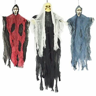 "3 Halloween Decorations Creepy 3.5"" Hanging Ghost Skeleton Bendable Yard Decor"