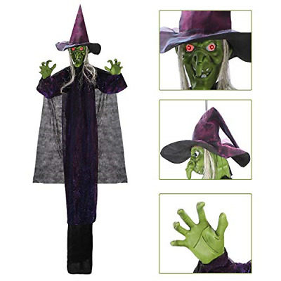 Hanging Animated Witch with LED Eyes and Spooky Sounds for Halloween Indoor
