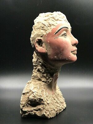 RARE EGYPT EGYPTIAN ANTIQUE Queen PHARAO NEFERTITI HEAD STATUE Carved STONE BC