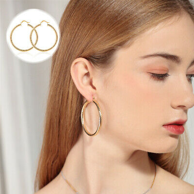 Earrings Hoop Filled Big Bling Party Geometry L8 Concave 18K Gold